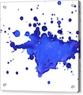 Blue Blobs On The Paper Acrylic Print