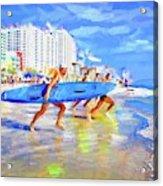 Blue Board Fast Into Ocean Acrylic Print