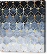 Blue Hexagons And Diamonds Acrylic Print