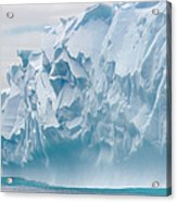 Blue Iceberg Carved By Waves Floats In Acrylic Print