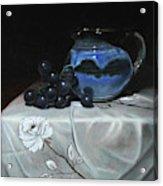Blue Jar And Dark Purple Grapes Acrylic Print