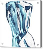 Blue Nude Woman Model Gesture Watercolor Xxxviii Acrylic Print
