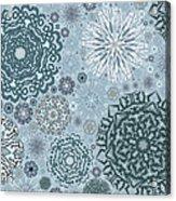 Blue Snowflake Pattern Acrylic Print