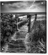 Boardwalk To The Sea In Radiant Black And White Acrylic Print