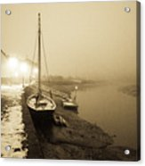 Boat On Wintry Quay Acrylic Print