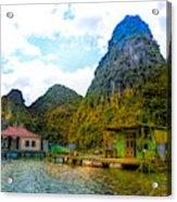Boat People Homes On Gulf Of Tonkin Ha Long Bay Vietnam Acrylic Print