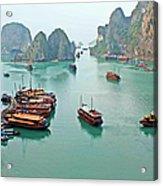 Boats Of Halong Bay Acrylic Print