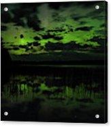 Boot Lake Green And Purple Northern Lights  Acrylic Print