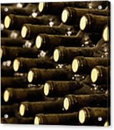 Bottled Red Wine Aging In Wine Cellar Acrylic Print