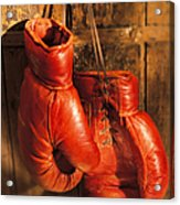 Boxing Gloves Hanging On Rustic Wooden Acrylic Print