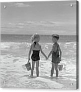 Boy And Girl Standing On Beach, Holding Acrylic Print
