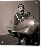 Boy In Aviator Suit Sitting In Toy Plane Acrylic Print
