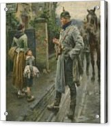 Boy Making A Face At A German Cavalry Acrylic Print