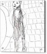 Boy On The Street Pencil Drawing Acrylic Print