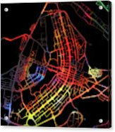 Brasilia Brazil City Street Map Watercolor Dark Mode Acrylic Print