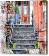 Brick Townhouse Walkup Watercolor Acrylic Print
