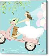 Bride On Scooter Acrylic Print