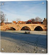 bridge over river Tyne in Haddington in winter Acrylic Print