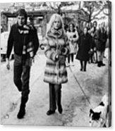 Brigitte Bardot And Husband Walk The Dog Acrylic Print