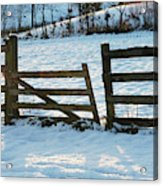 Broken Fence In The Snow At Sunset Acrylic Print