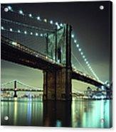 Brooklyn Bridge At Night, New York City Acrylic Print