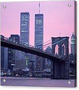 Brooklyn Bridge, Twin Towers, Nyc, Ny Acrylic Print