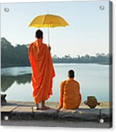 Buddhist Monks Standing In Front Of Acrylic Print