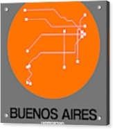 Buenos Aires Orange Subway Map Acrylic Print