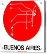 Buenos Aires Red Subway Map Acrylic Print