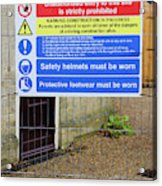 Building Site Sign Acrylic Print