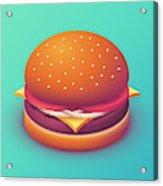 Burger Isometric - Plain Mint Acrylic Print