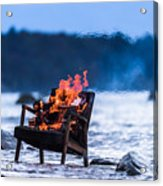 Burning Old Armchair On The Seashore Acrylic Print