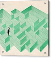 Businessman Trapped In Maze Acrylic Print