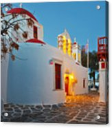 Byzantine Church In A Street Of Mykonos Acrylic Print