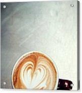 Caffe Macchiato Heart Shape On Brushed Acrylic Print