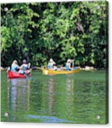 Canoeing On The Rideau Canal In Newboro Channel Ontario Canada Acrylic Print