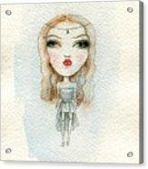 Cartoon Cute Child Girl  . Watercolor Acrylic Print
