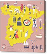 Cartoon Map Of Spain With Legend Icons Acrylic Print