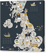 Cartoon Map Of United Kingdom With Acrylic Print