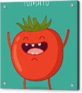 Cartoon Tomato With Eyes And Smiling Acrylic Print