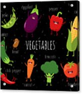 Cartoon Vegetables Illustration On Acrylic Print