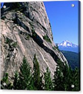 Castle Crags With Mt Shasta In Acrylic Print