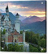 Castle Neuschwanstein With A Dramatic Acrylic Print