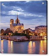 Cathedral Notre Dame And River Seine Acrylic Print