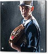 Caucasian Baseball Player Standing Acrylic Print