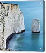 Chalk Cliffs And Sea Stack At South Acrylic Print