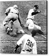 Charlie Gehringer Slides Into First Base Acrylic Print