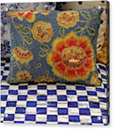 Checkerboard And Pillow Acrylic Print