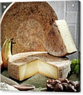 Cheese, Fruit And Grains On Table Acrylic Print