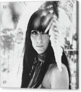 Cher Portrait With Ferns Acrylic Print